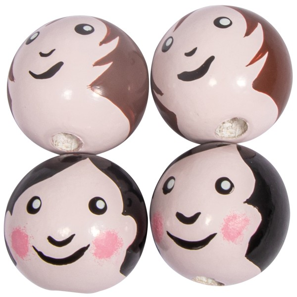 Boules en bois têtes de poupée - Maman et Papa  - 2,3 cm - 4 pcs - Photo n°1
