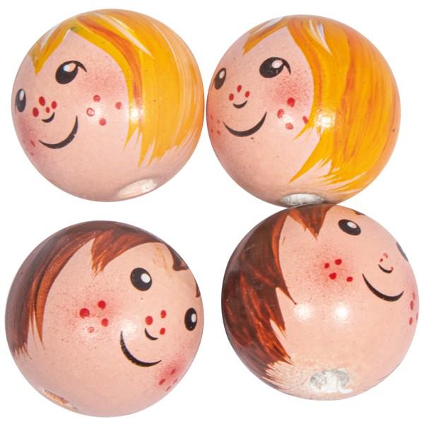 Boules en bois têtes de poupée - Enfants - 2,3 cm - 4 pcs - Photo n°1
