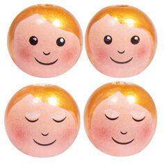 Boules en bois têtes de poupée - Anges - 2,3 cm - 4 pcs