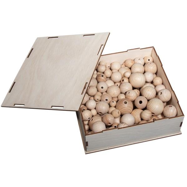 Assortiment de perles en bois - de 3 à 1 cm - 222 pcs - Photo n°1