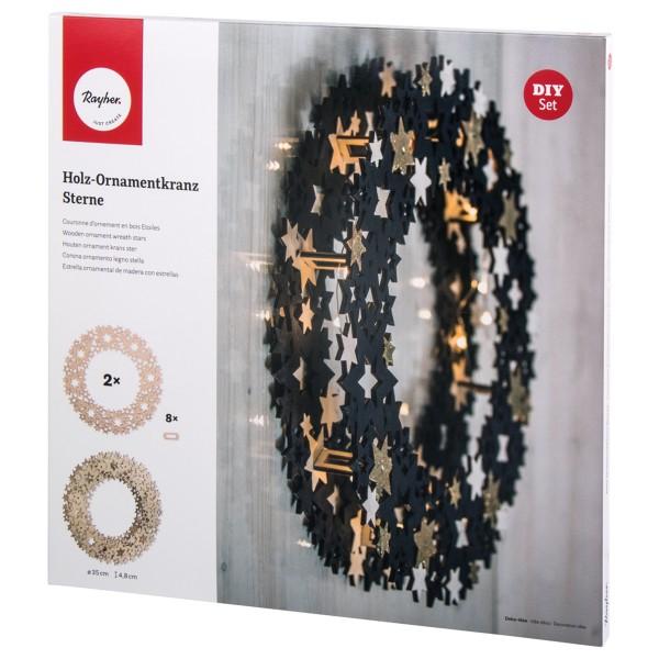 Kit couronne de bois - Étoiles - 10 pcs - Photo n°1