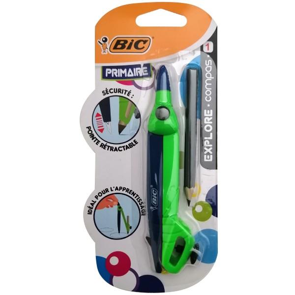Compas Explore Bic et Crayon - Primaire - Bague réglable + Crayon - 2pcs - Photo n°1