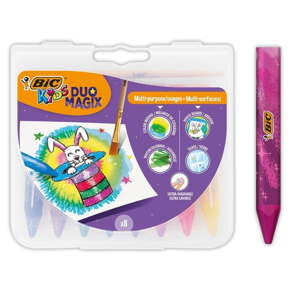 Crayons de coloriage Bic kids Duo Magix - Multiusages et multisurfaces - 9 pcs - Photo n°1