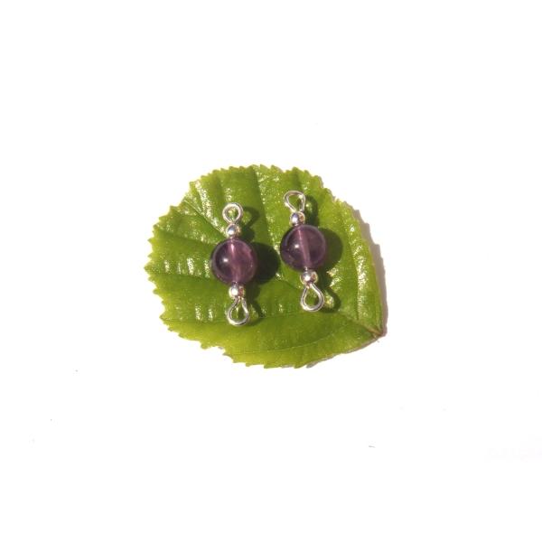 Améthyste : paire de MINI connecteurs 1.7 CM de longueur x 6 MM de diamètre - Photo n°2