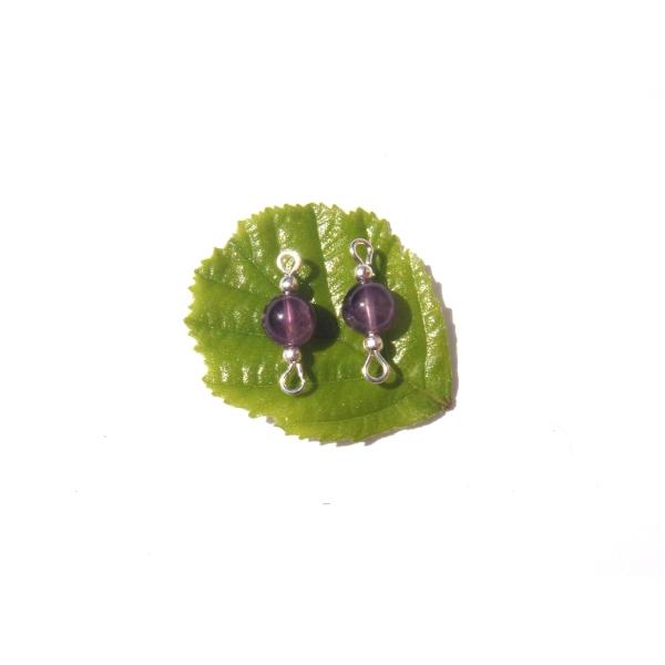Améthyste : paire de MINI connecteurs 1.7 CM de longueur x 6 MM de diamètre - Photo n°1