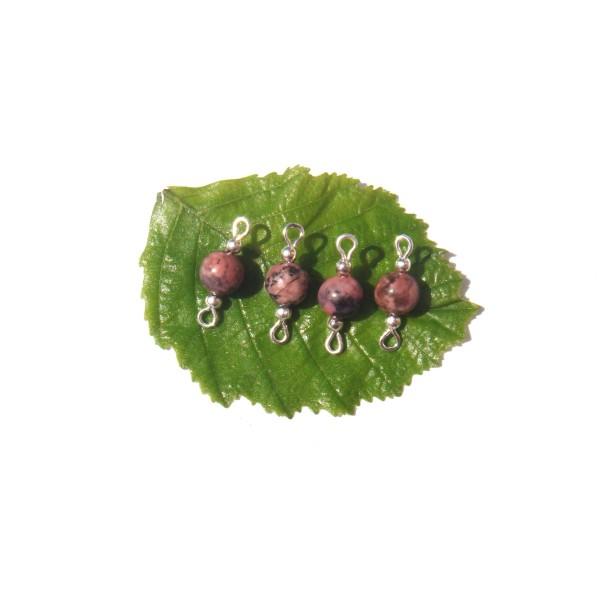 Rhodonite multicolore : 2 paires de MINI connecteurs 18 mm de longueur x 6 mm de diamètre - Photo n°2