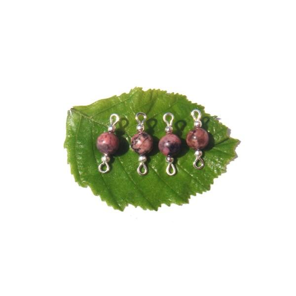 Rhodonite multicolore : 2 paires de MINI connecteurs 18 mm de longueur x 6 mm de diamètre - Photo n°1