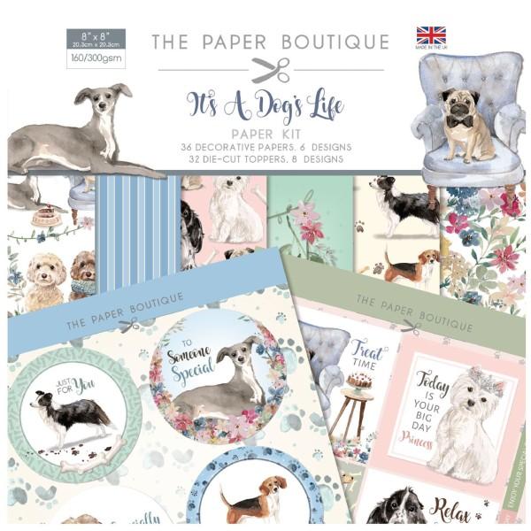 Papier scrapbooking  The Paper Boutique - It's a dog's life Kit - 20x20 - 36 feuilles - Photo n°1