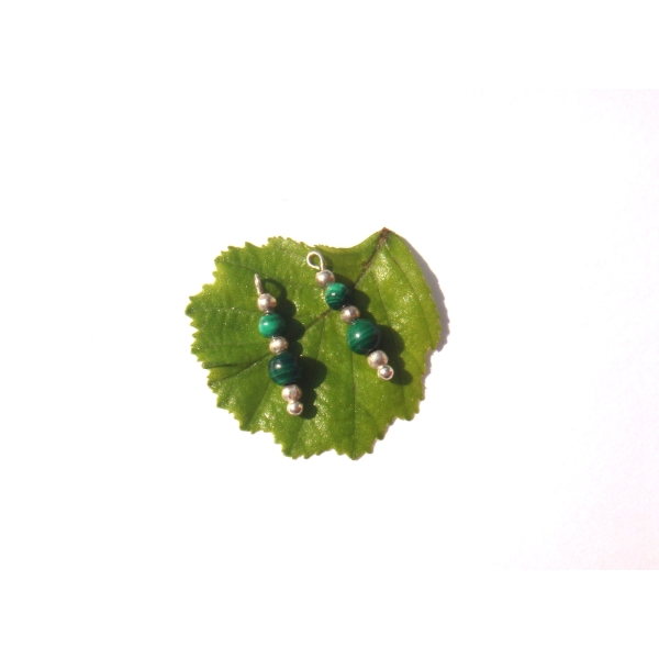 Malachite multicolore : 2 MINI breloques 1.8 CM de hauteur x 4 MM - Photo n°2