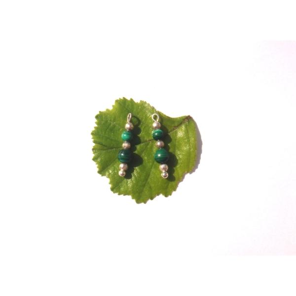 Malachite multicolore : 2 MINI breloques 1.8 CM de hauteur x 4 MM - Photo n°1