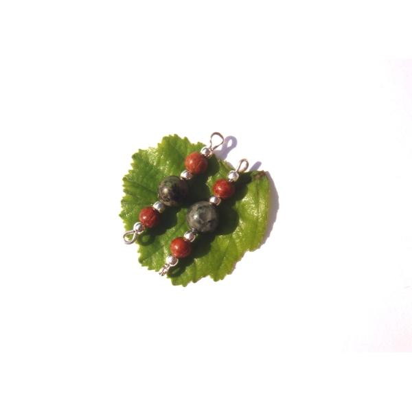 Turquoise Africaine et Bois de Bayong : Paire de connecteurs 2,9 CM de longueur (A) - Photo n°1