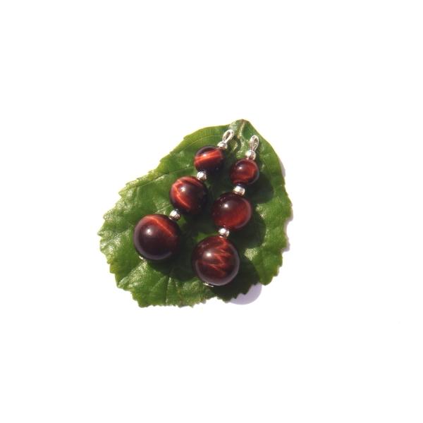 Oeil de Taureau : Paire de pendentifs 3,7 CM de hauteur x 1 CM de diamètre - Photo n°2