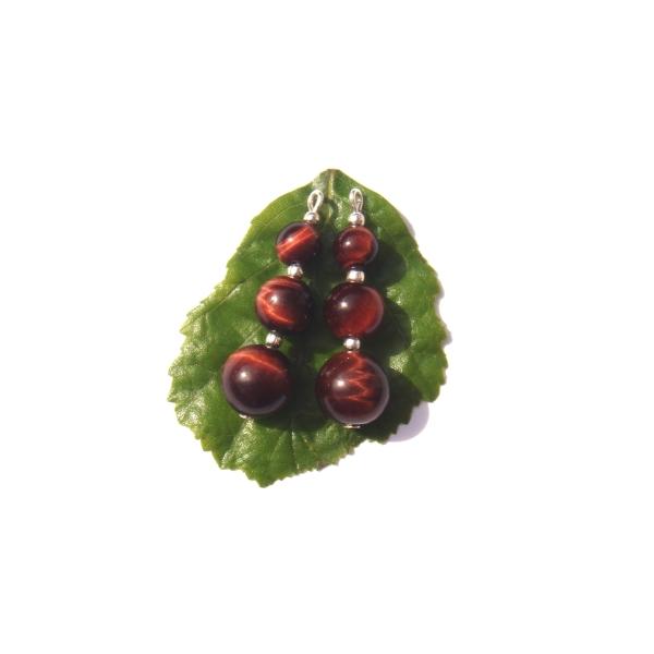 Oeil de Taureau : Paire de pendentifs 3,7 CM de hauteur x 1 CM de diamètre - Photo n°1