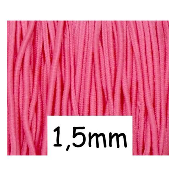 4m Élastique Rond Rose Lumineux 1,5mm - Photo n°1