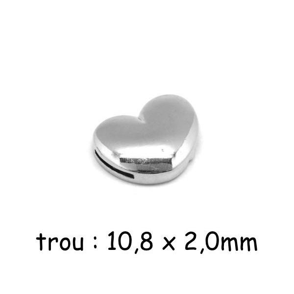 Fermoir Aimanté Coeur En Métal Argenté Pour Lanière Cuir De 10mm - Photo n°1