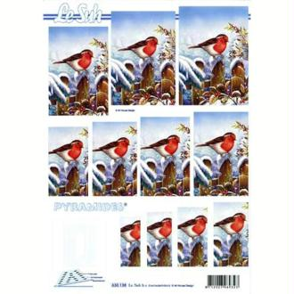 Carte 3D en pyramide Rouge gorge ciel bleu 21 x 29,7 cm
