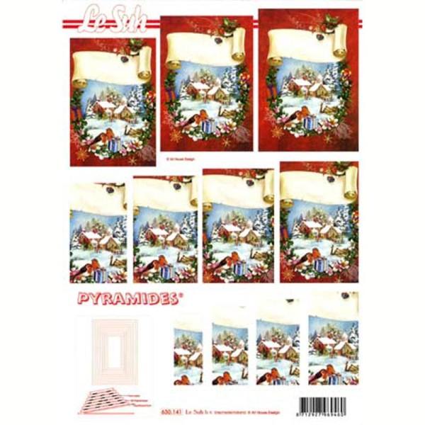 Carte 3D en pyramide Paysage enneigé 21 x 29,7 cm - Photo n°1
