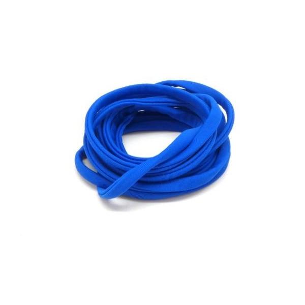 2m Cordon Lycra Élastique 5mm Style Spaghetti Bleu Dur Légèrement Brillant - Photo n°1