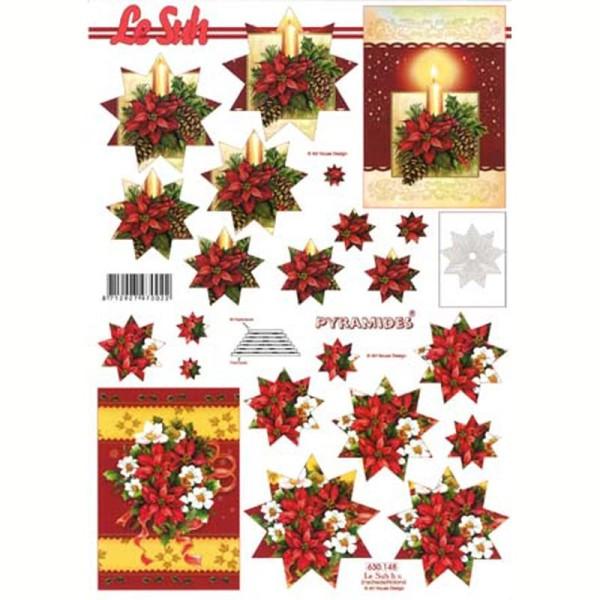 Carte 3D en pyramide Fleur de Noël 21 x 29,7 cm - Photo n°1