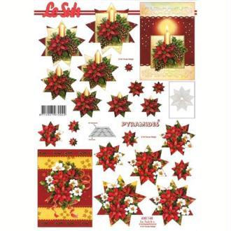 Carte 3D en pyramide Fleur de Noël 21 x 29,7 cm