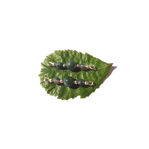 Agate Mousse multicolore : Paire de connecteurs 3 CM de longueur x 6 MM de diamètre - Photo n°2