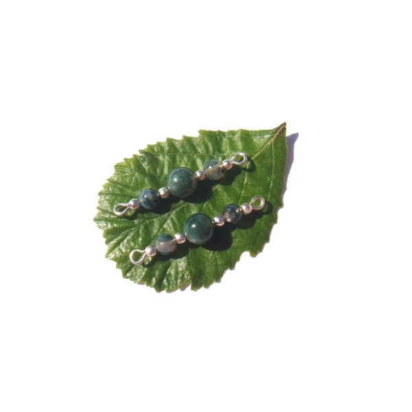 Agate Mousse multicolore : Paire de connecteurs 3 CM de longueur x 6 MM de diamètre - Photo n°1