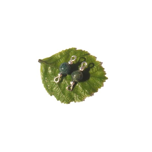 Agate Mousse : Paire de MINI connecteurs 1,8 CM de longueur x 6 MM de diamètre - Photo n°1