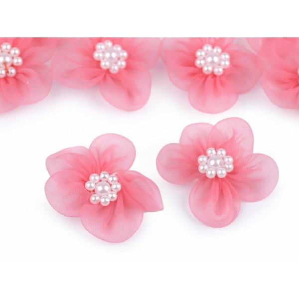 10pc Rose Fleur en Organza Ø30mm Avec des Imitations de Perles, d'Autres Fleurs À Coudre de la Colle - Photo n°1