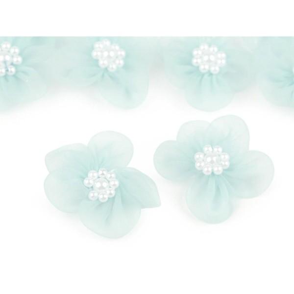 10pc 9 Menthe Fleur en Organza Ø30mm Avec des Imitations de Perles, d'Autres Fleurs À Coudre de la C - Photo n°2