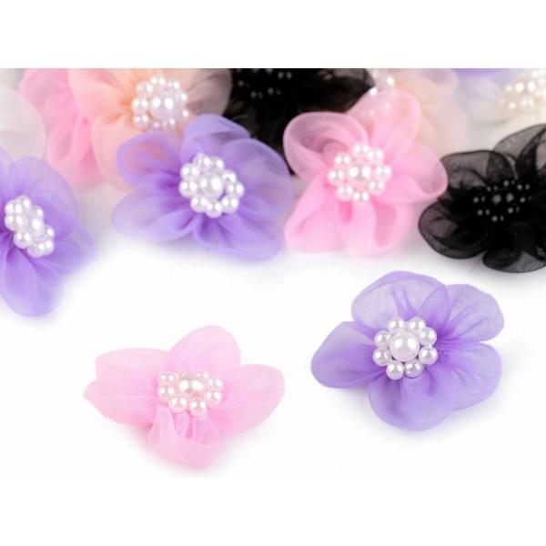 10pc 9 Menthe Fleur en Organza Ø30mm Avec des Imitations de Perles, d'Autres Fleurs À Coudre de la C - Photo n°3