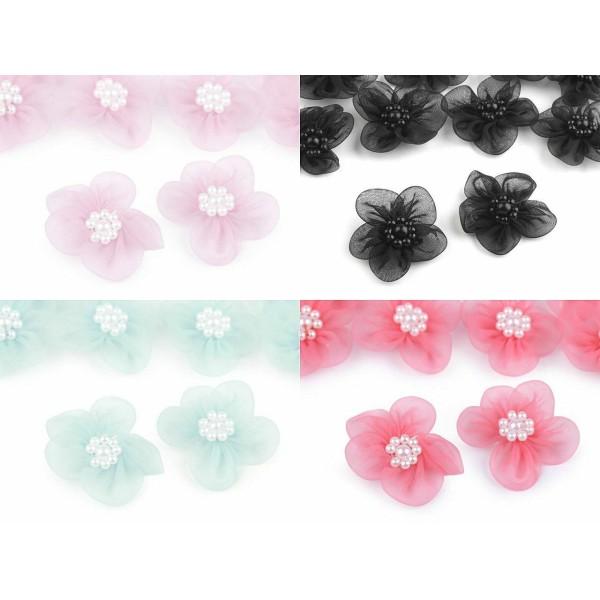 10pc 9 Menthe Fleur en Organza Ø30mm Avec des Imitations de Perles, d'Autres Fleurs À Coudre de la C - Photo n°5