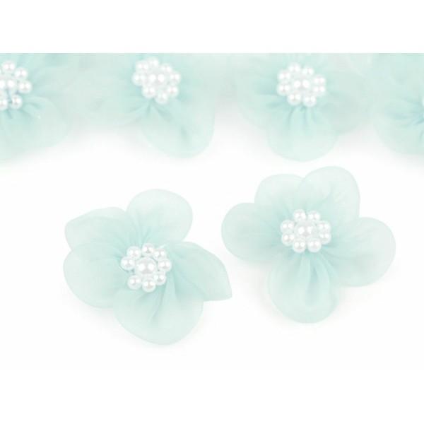 10pc 9 Menthe Fleur en Organza Ø30mm Avec des Imitations de Perles, d'Autres Fleurs À Coudre de la C - Photo n°1