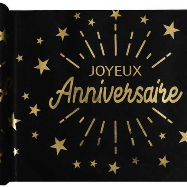 Chemin de table Joyeux Anniversaire noir et or métallisé x 5 mètres - Photo n°1