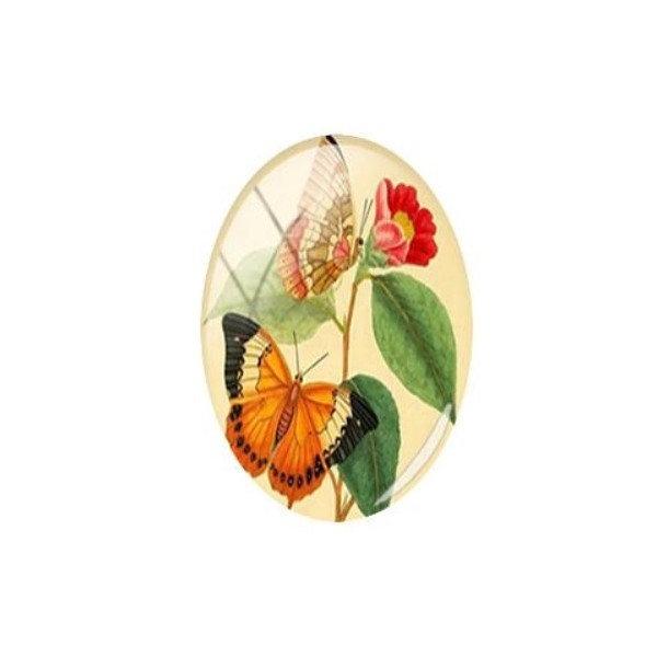 1 cabochon ovale en verre 18 x 25 mm PAPILLON ORANGE FEUILLAGE - Photo n°1