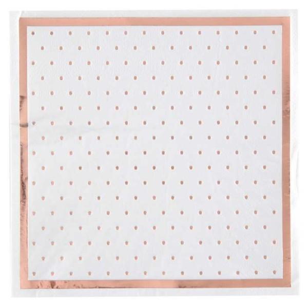 20 Serviettes en papier Passe-partout blanc et rose gold métallisé - Photo n°1