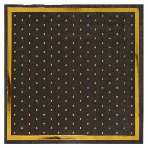 20 Serviettes en papier Passe-partout noir et or métallisé - Photo n°1