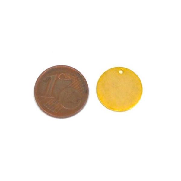 2 Breloques Doré En Acier Inoxydable Médaille 14mm, Sequin Peut Être Gravé - Photo n°2