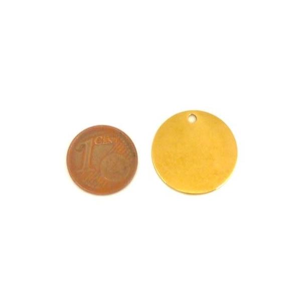 2 Pendentifs Rond Doré, Sequin, Pastille, Médaille En Acier Inoxydable 20mm - Photo n°2