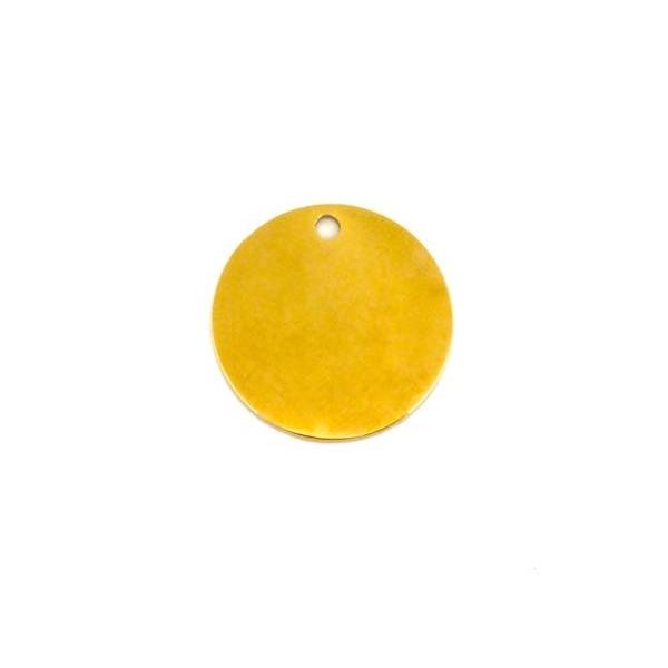 2 Pendentifs Rond Doré, Sequin, Pastille, Médaille En Acier Inoxydable 20mm - Photo n°3