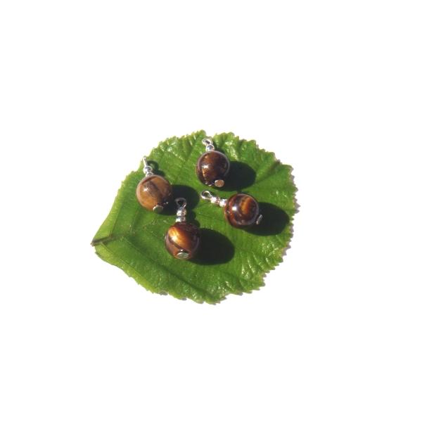 Oeil de Tigre et de Fer : 4 MINI breloques 1.6 CM de hauteur x 8 MM de diamètre - Photo n°2