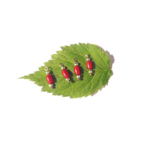 Corail Bambou : 4 MICRO breloques 1.4 CM de hauteur x 3.5 MM de diamètre - Photo n°1