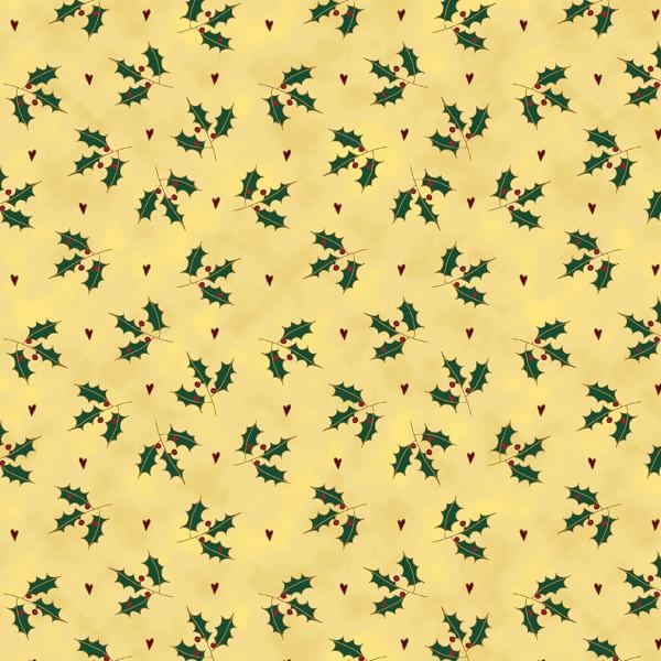 Tissu Toile de coton - Branches de Houx - Par 10 cm - Photo n°1