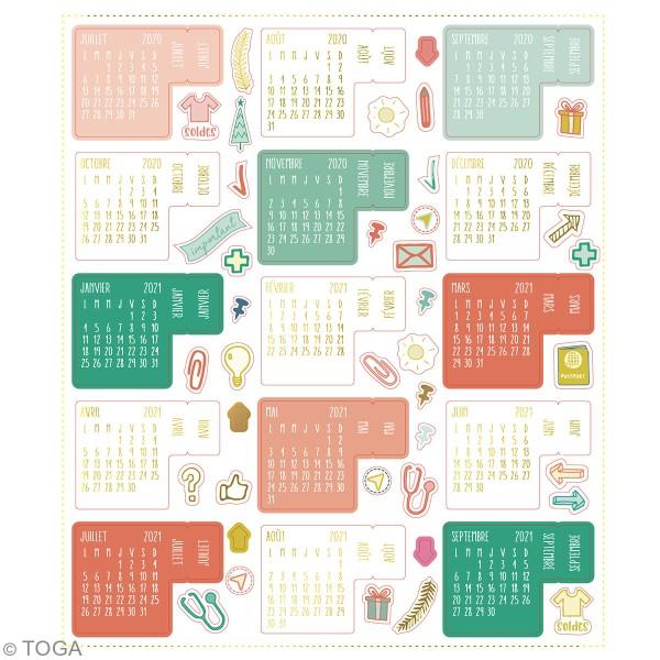 Stickers Onglets Agenda - Juillet 2020/Décembre 2021 - 18 pcs - Photo n°3