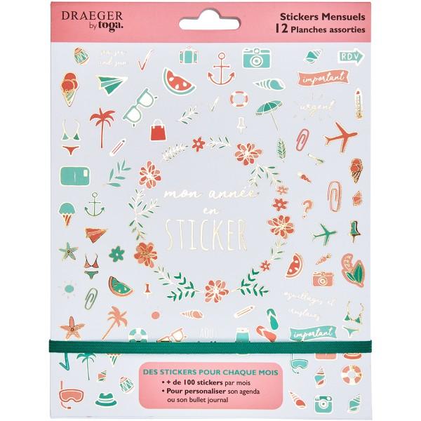 Carnet de stickers - Mon année en stickers - 12 planches - Photo n°1