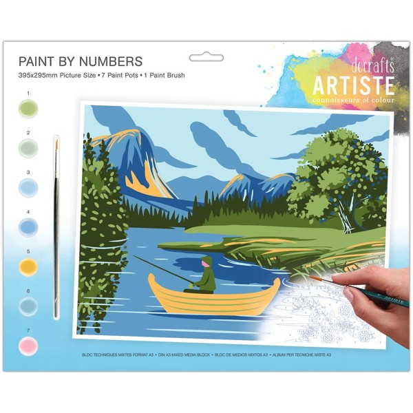 Peinture au numéro - Lac et montagnes - 39,5 x 29,5 cm - Photo n°1