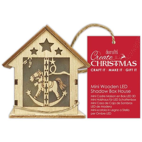 Décoration Lumineuse Noël 3D - Maison - Petit cheval - 8 x 6,5 x 5 cm - Photo n°1