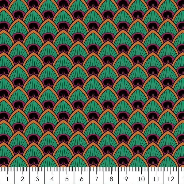 Grand coupon de tissu coton microfibre - Motif Wax Plume de paon - 300 x 160 cm - Photo n°2