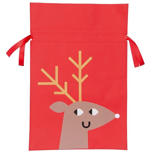 Sac en tissu pour Noël - Grand Format - Renne - 30 x 45 cm - Photo n°1