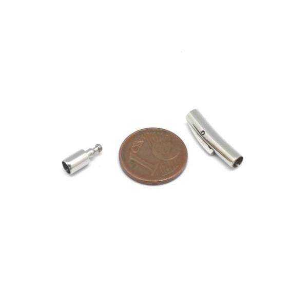 Fermoir Clip Pour Cordon De 3mm En Acier Inoxydable Argenté Brillant - Photo n°2