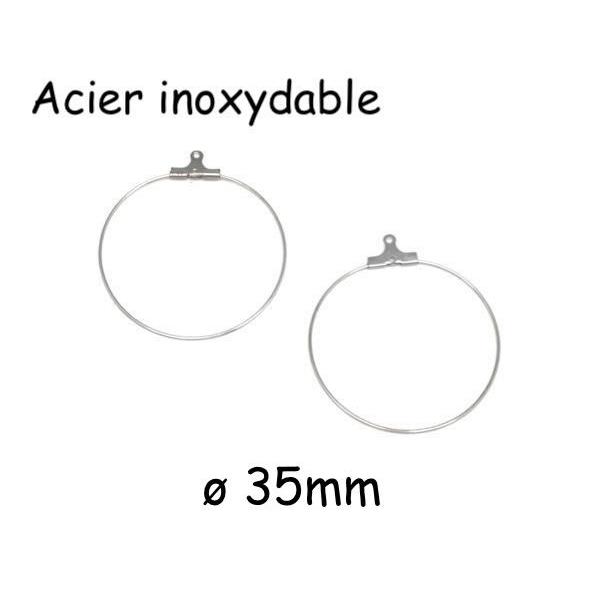 4 Supports Créoles, Boucles D'oreilles 35mm En Acier Inoxydable Argenté - Photo n°1